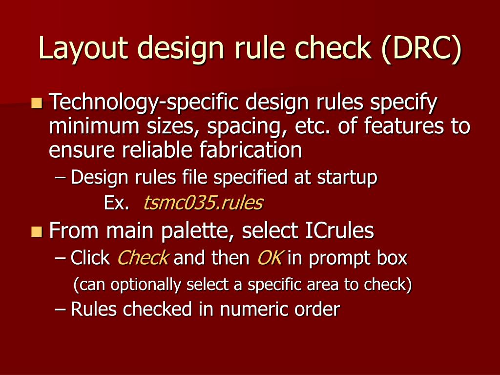 Layout design rule check (DRC)