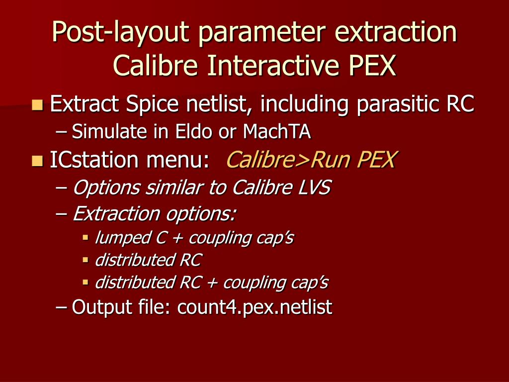 Post-layout parameter extraction