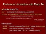 post layout simulation with mach ta