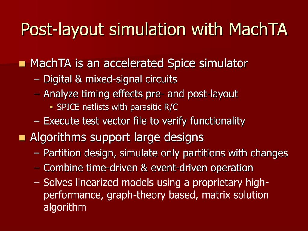 Post-layout simulation with MachTA