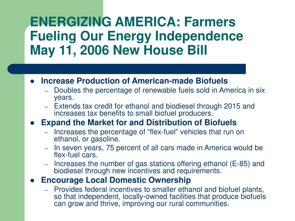 ENERGIZING AMERICA: Farmers Fueling Our Energy Independence