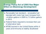 energy policy act of 2005 has major effect on bioenergy development