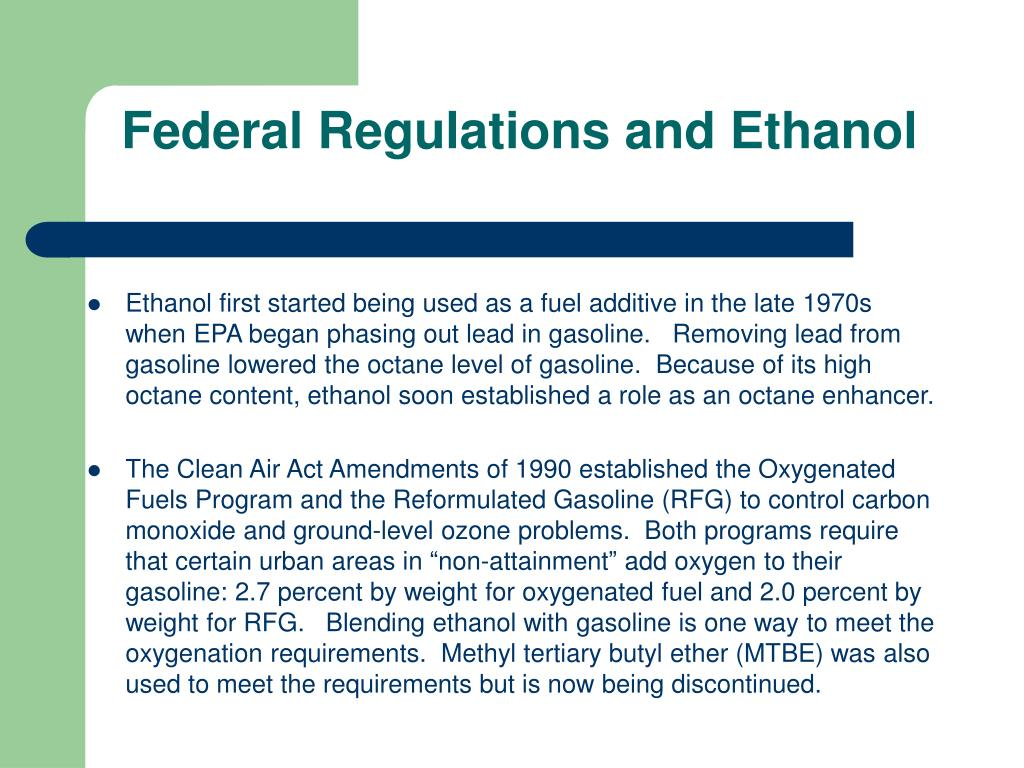 Federal Regulations and Ethanol