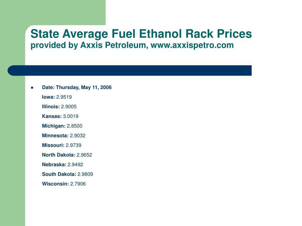 State Average Fuel Ethanol Rack Prices