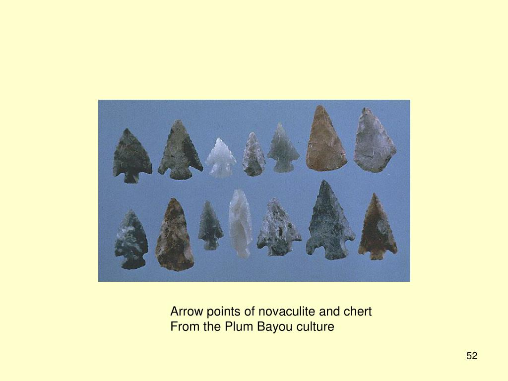 Arrow points of novaculite and chert