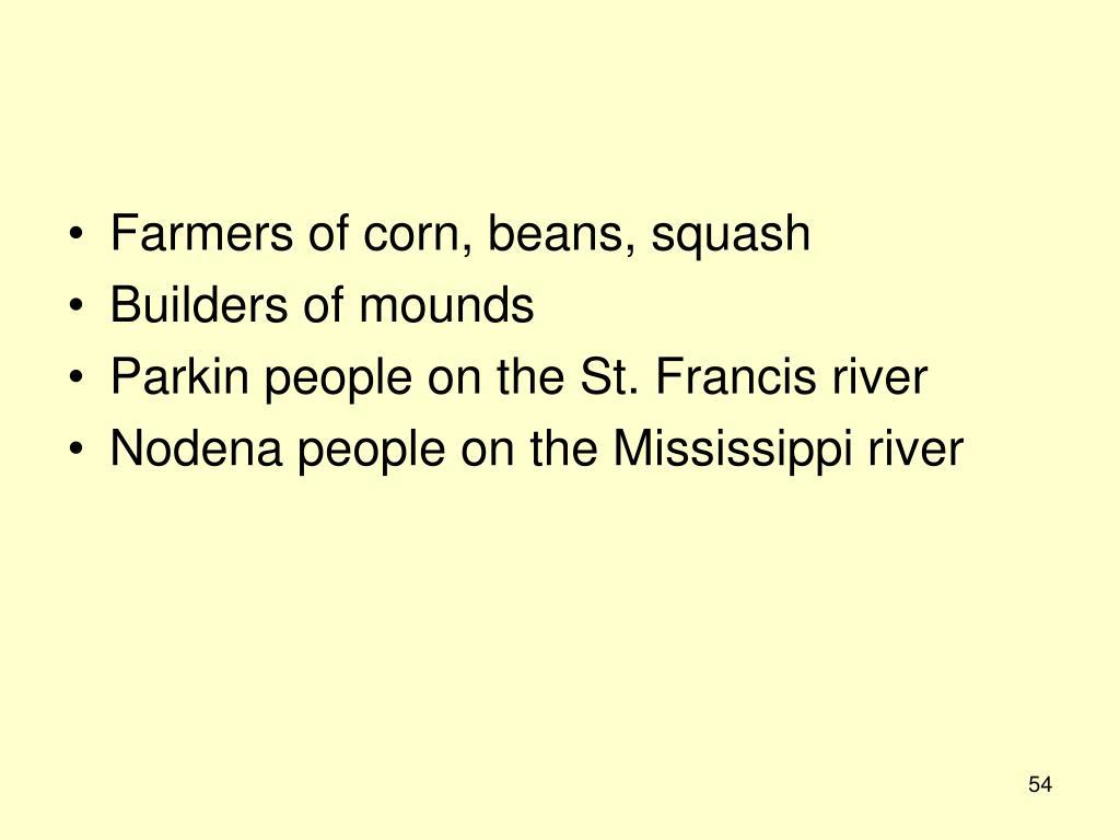 Farmers of corn, beans, squash