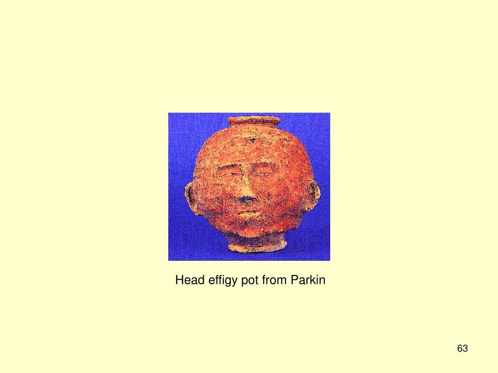 Head effigy pot from Parkin