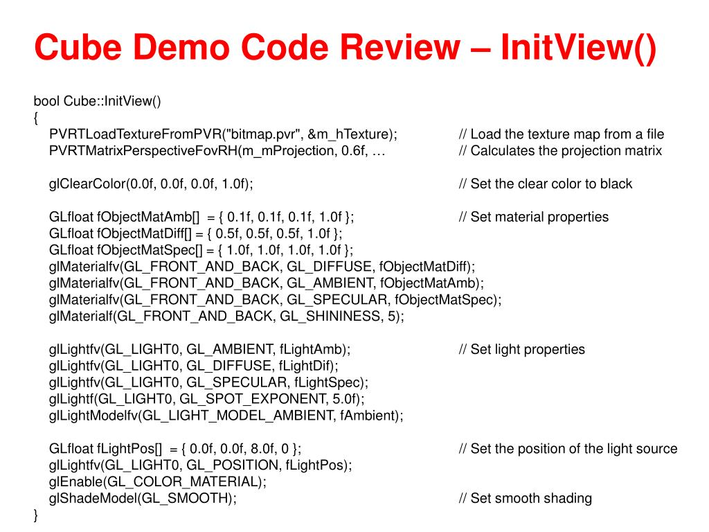 Cube Demo Code Review – InitView()