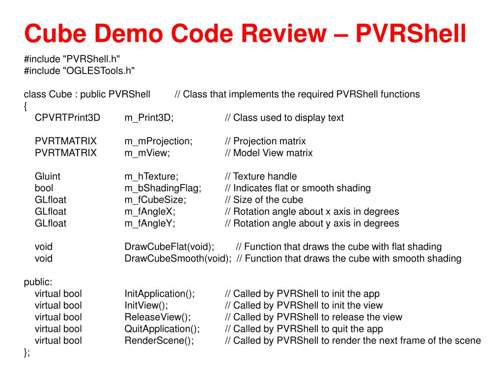 Cube Demo Code Review – PVRShell
