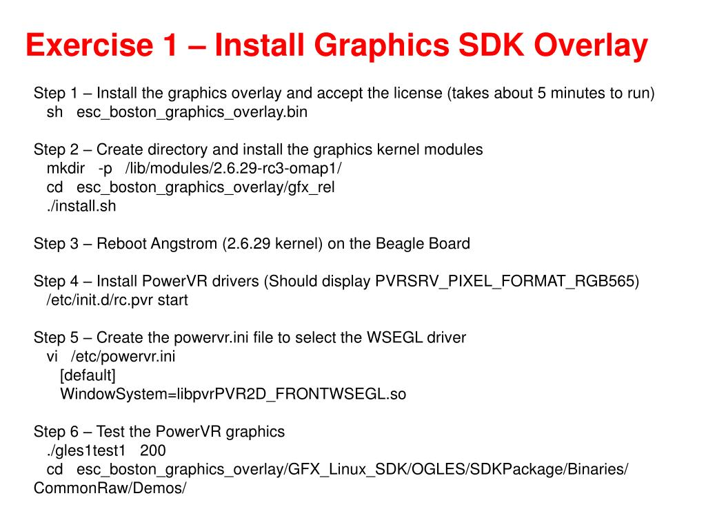 Exercise 1 – Install Graphics SDK Overlay