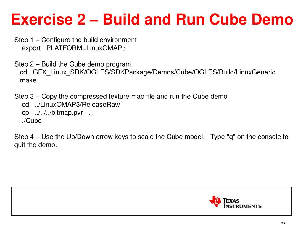 Exercise 2 – Build and Run Cube Demo