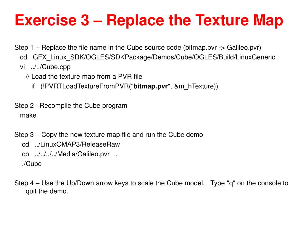 Exercise 3 – Replace the Texture Map