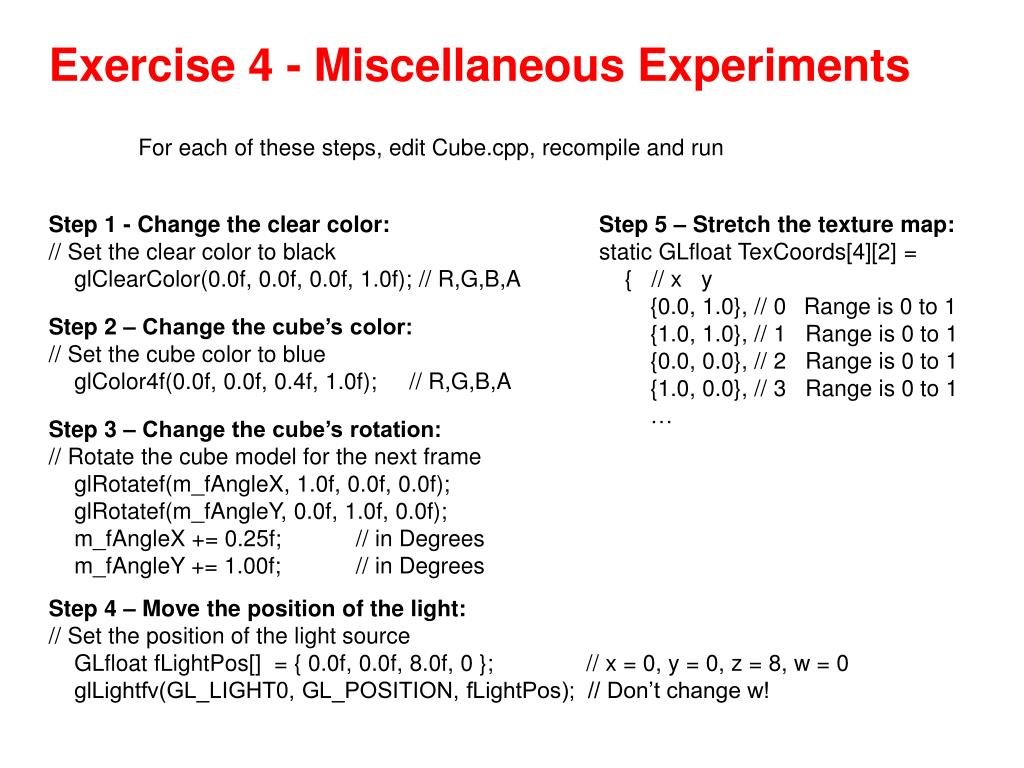 Exercise 4 - Miscellaneous Experiments