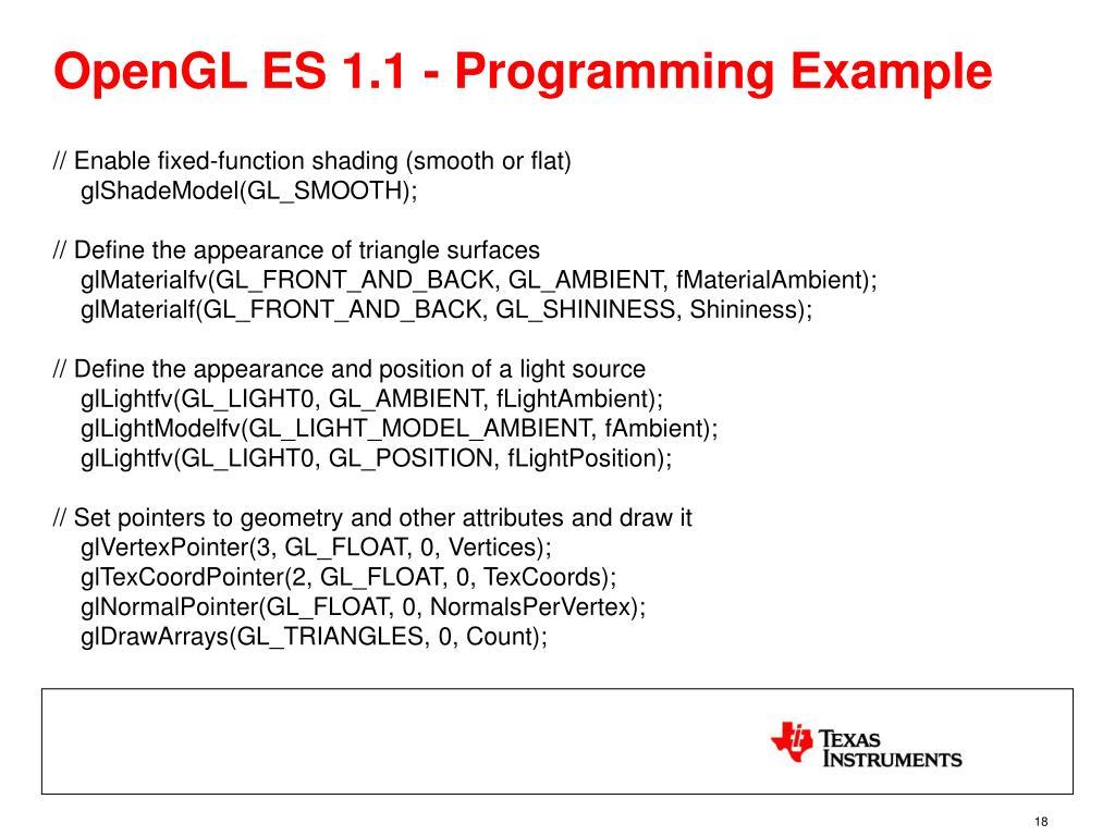 OpenGL ES 1.1 - Programming Example