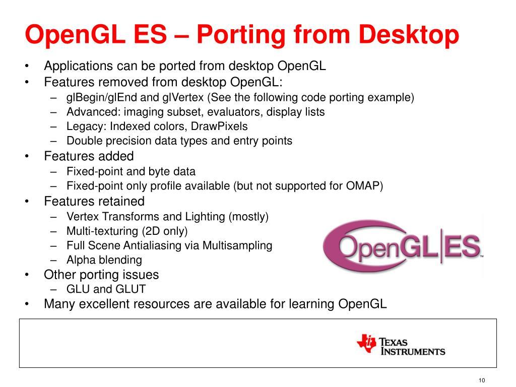 OpenGL ES – Porting from Desktop