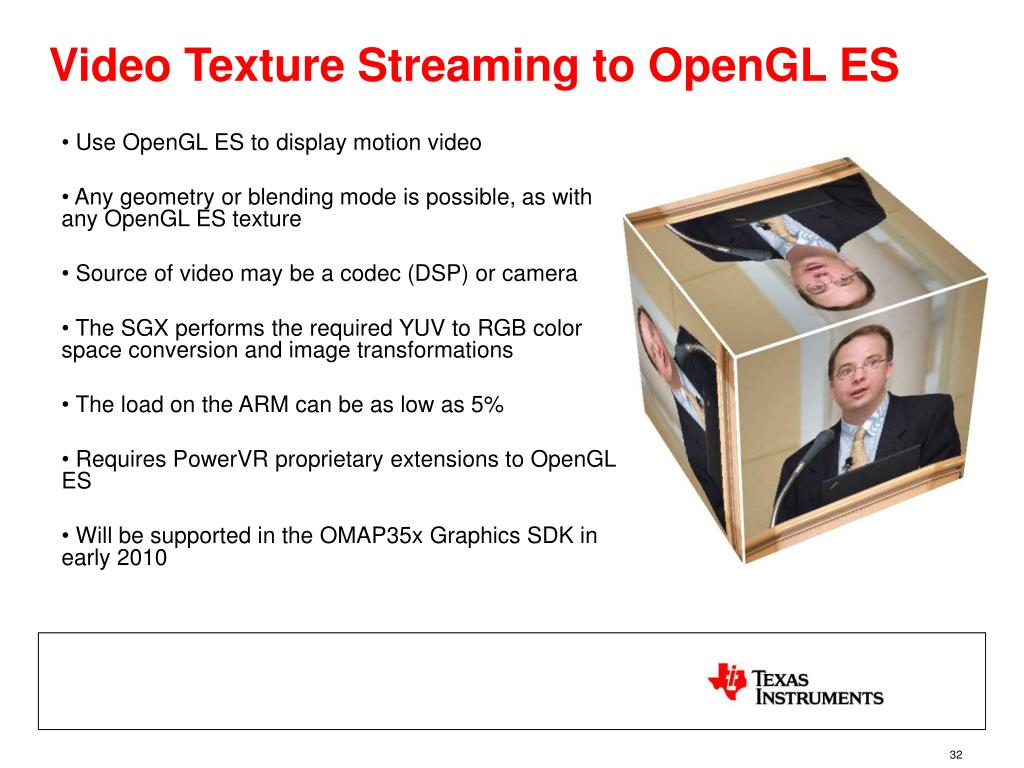 Video Texture Streaming to OpenGL ES