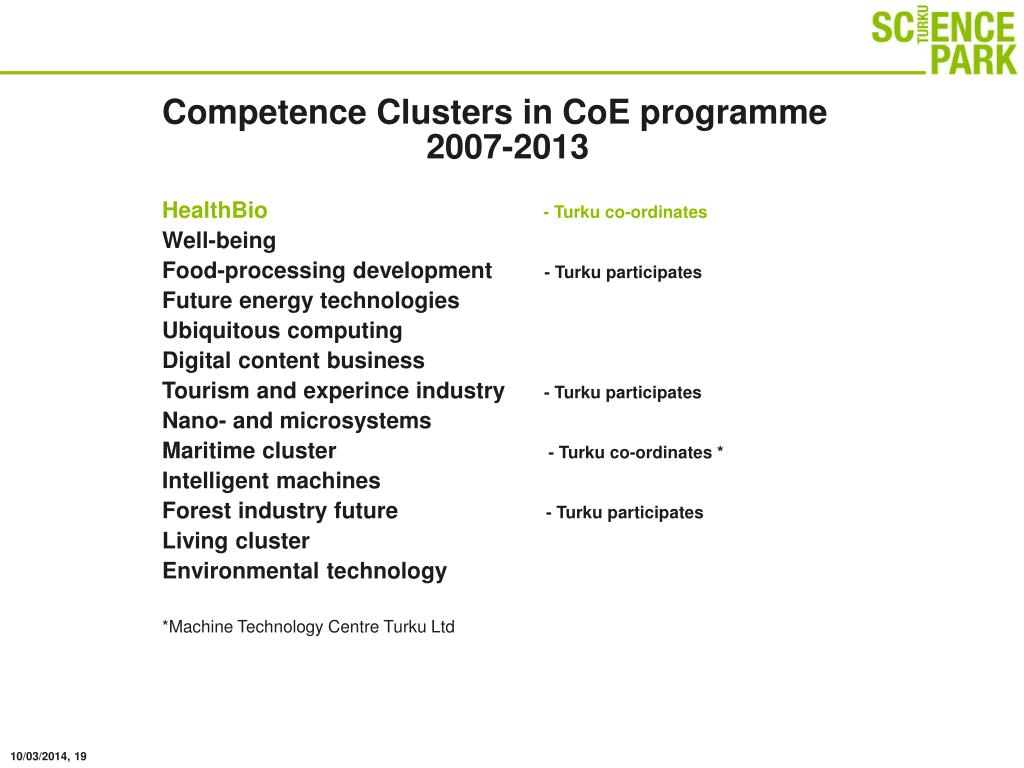 Competence Clusters in CoE programme