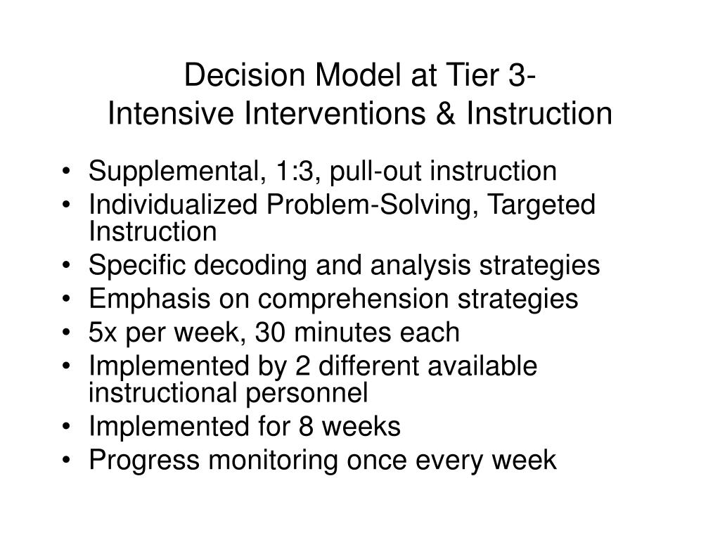 Decision Model at Tier 3-