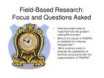 field based research focus and questions asked