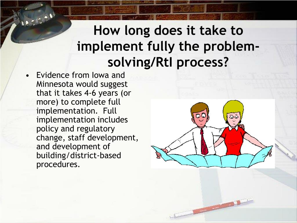 How long does it take to implement fully the problem-solving/RtI process?