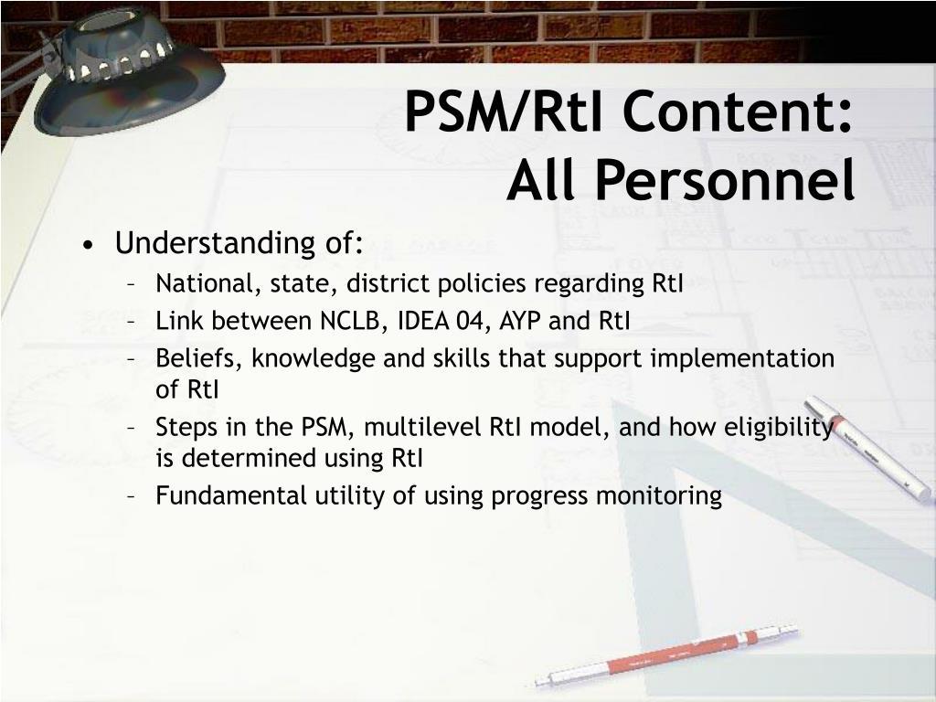 PSM/RtI Content: