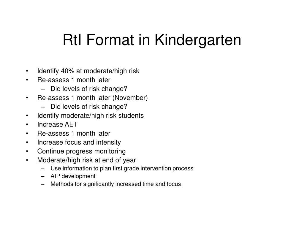 RtI Format in Kindergarten