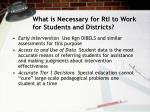 what is necessary for rti to work for students and districts