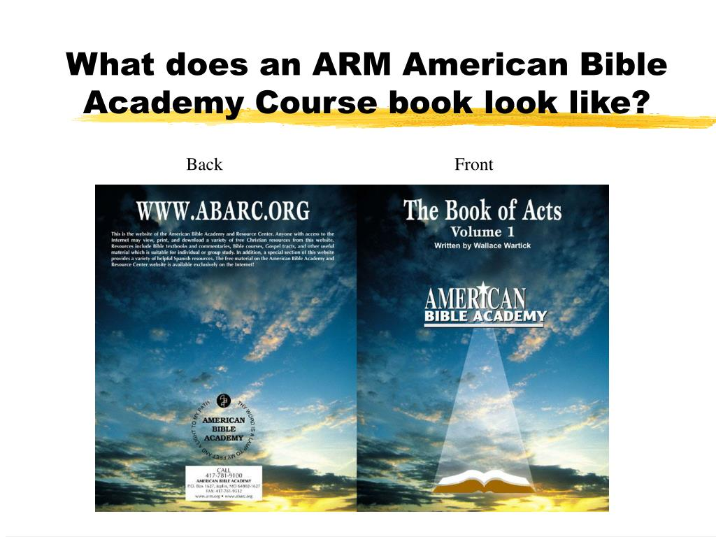 What does an ARM American Bible Academy Course book look like?