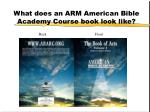 what does an arm american bible academy course book look like