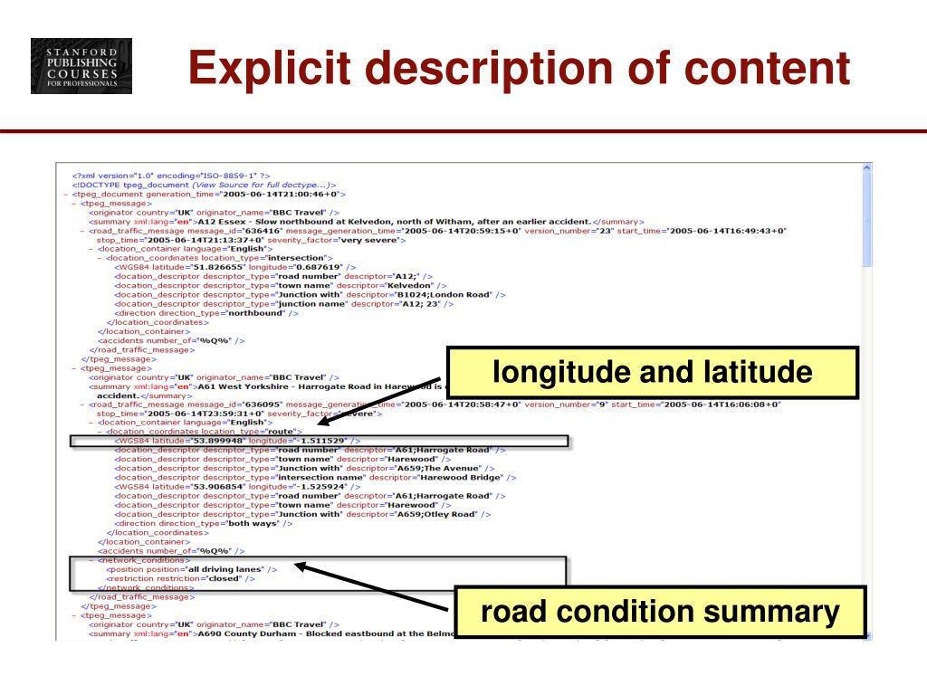 Explicit description of content