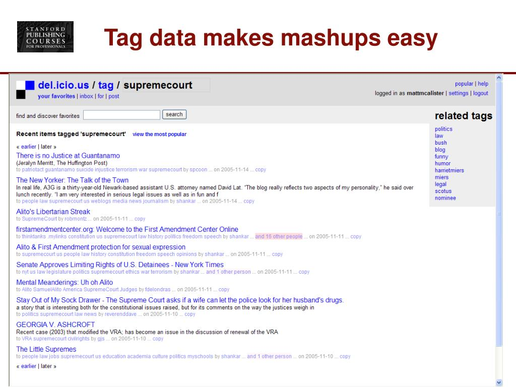 Tag data makes mashups easy