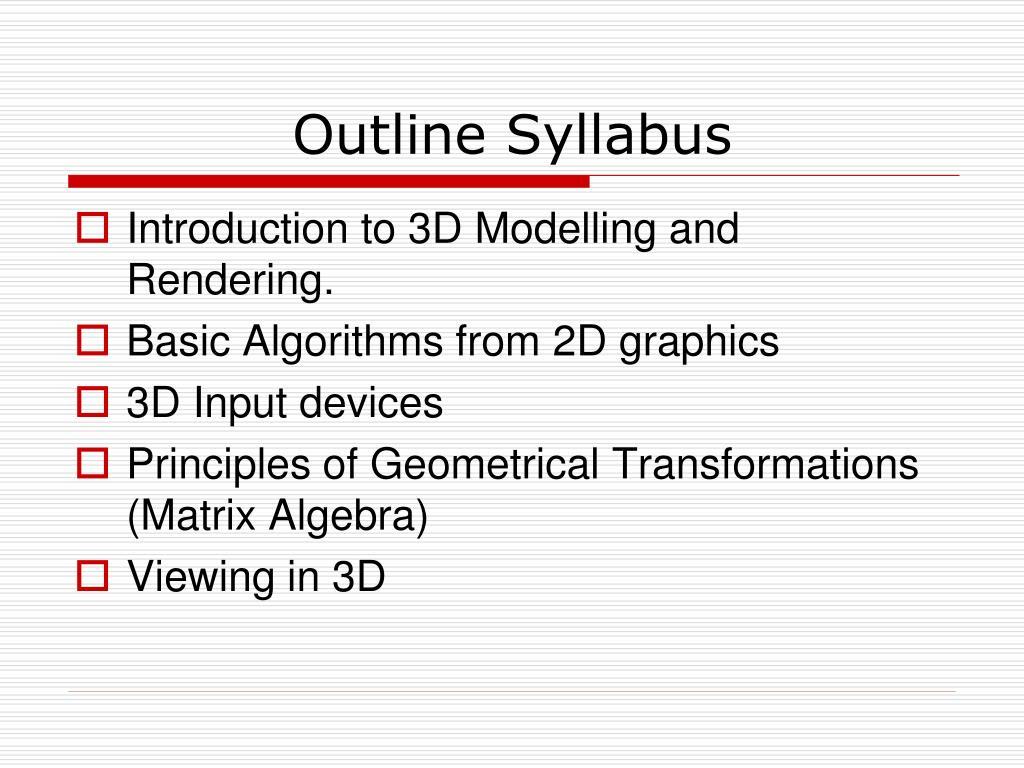 Outline Syllabus