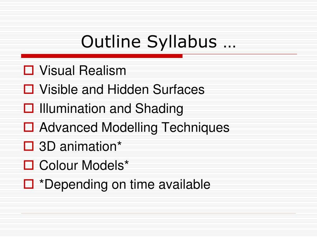 Outline Syllabus …