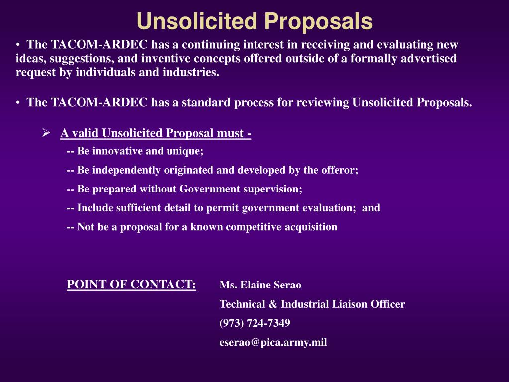 Unsolicited Proposals