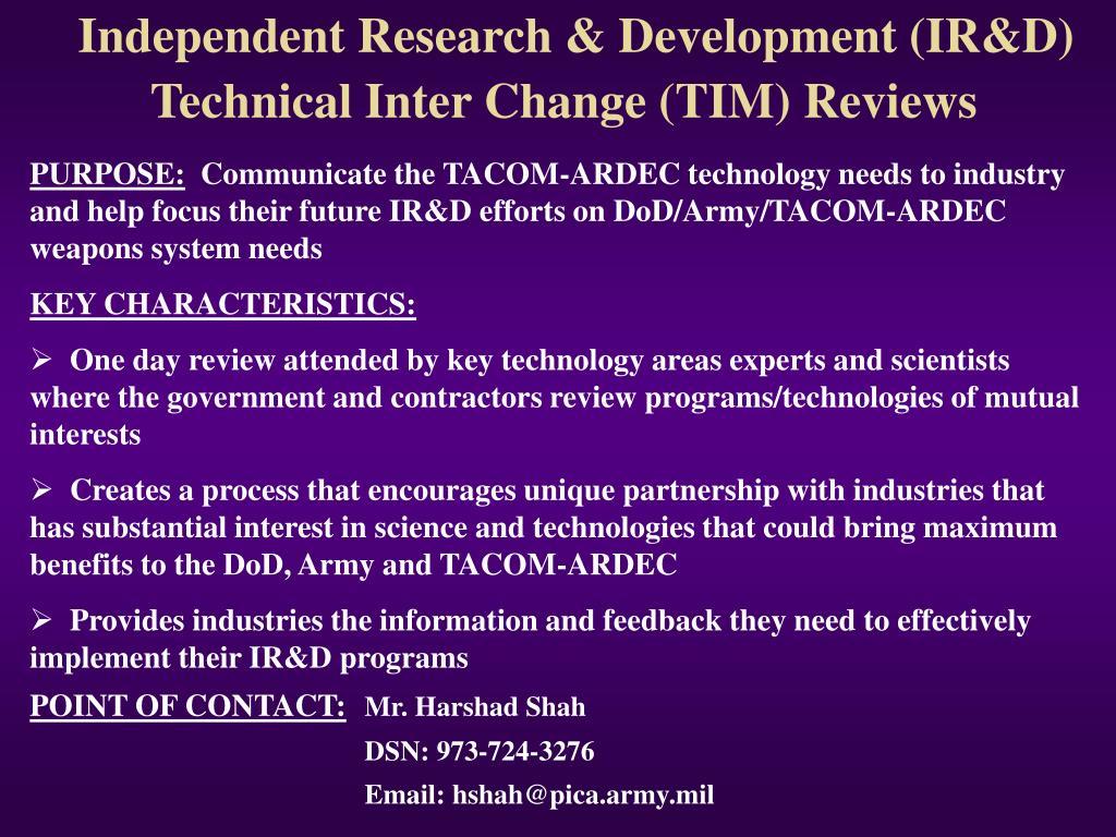 Independent Research & Development (IR&D)