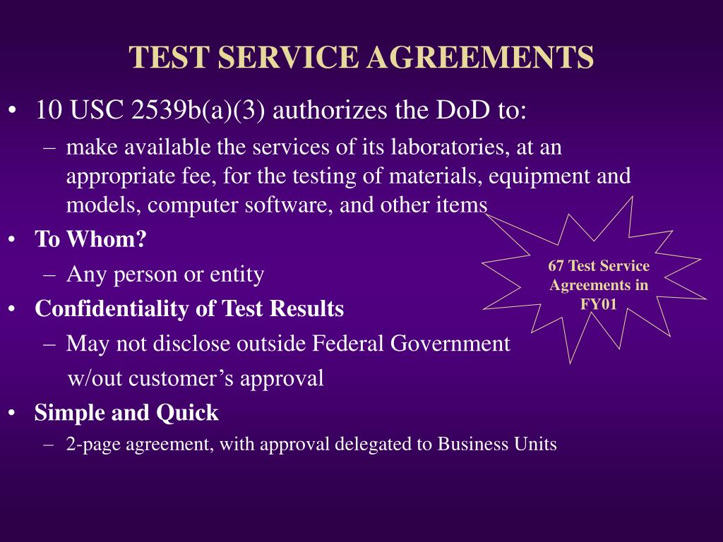 TEST SERVICE AGREEMENTS