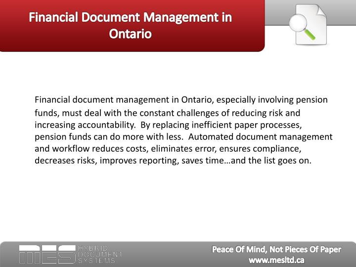 Financial document management in ontario