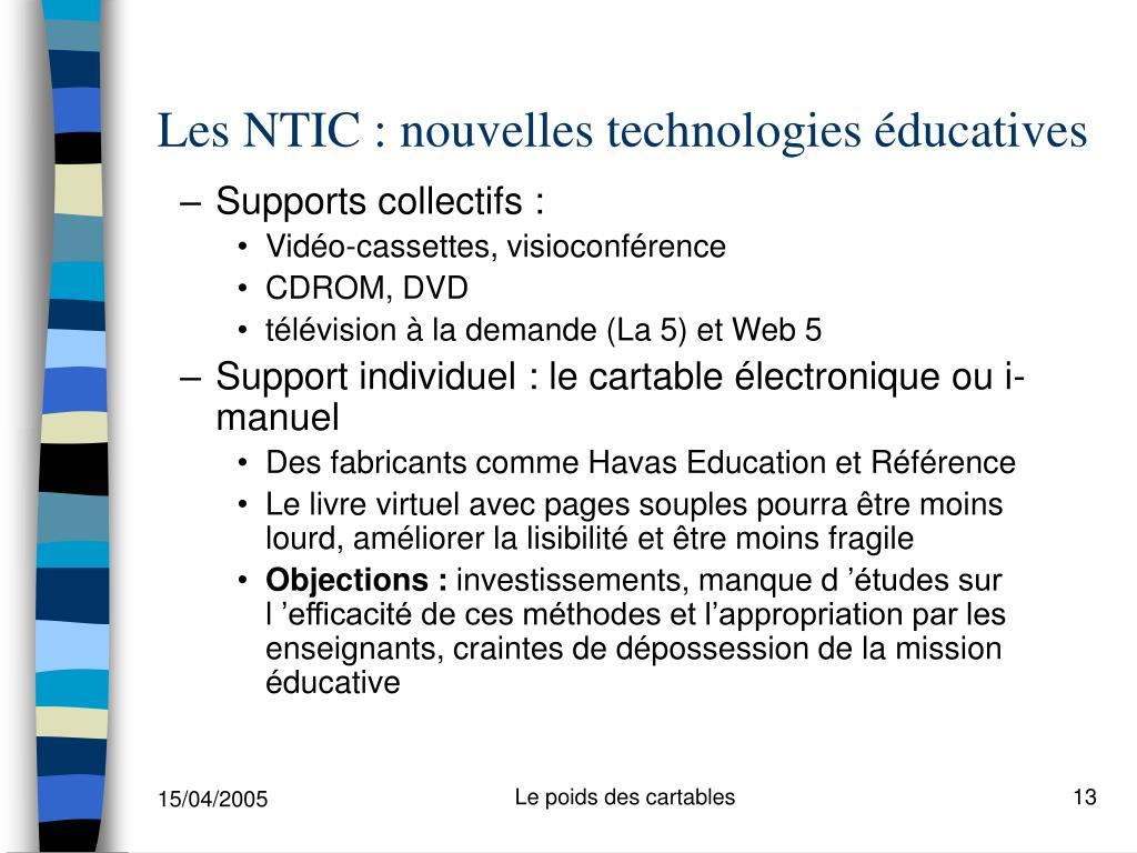 Les NTIC : nouvelles technologies éducatives