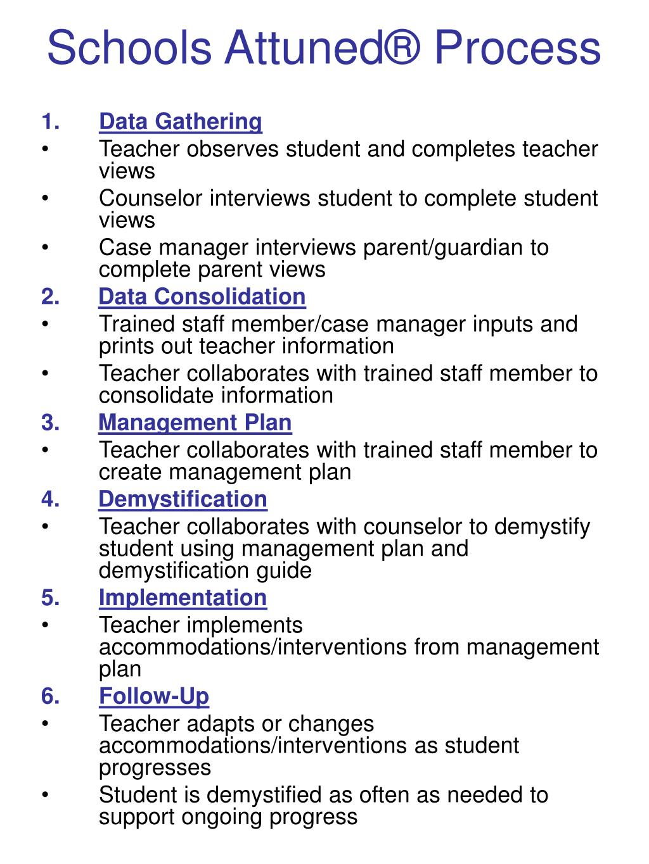 Schools Attuned® Process