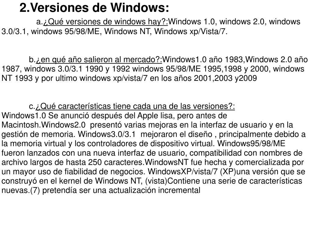 2.Versiones de Windows: