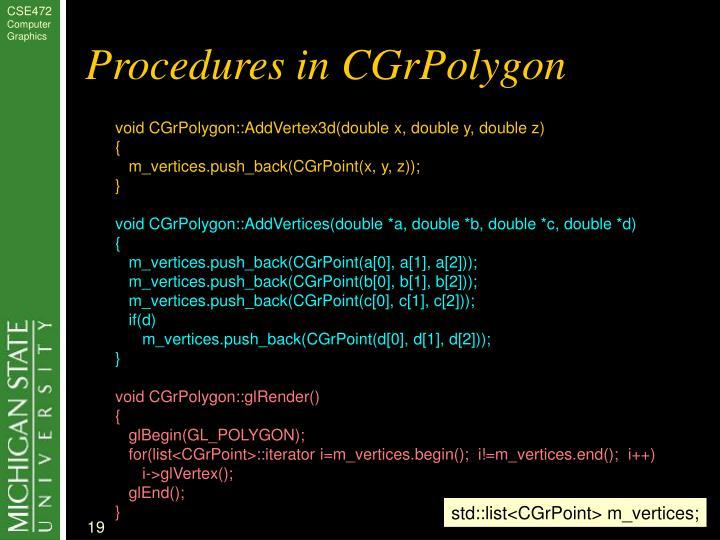 Procedures in CGrPolygon