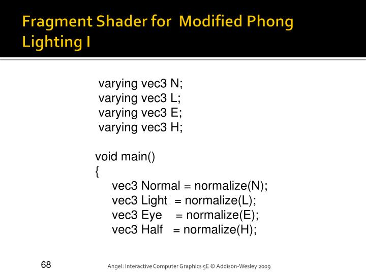 Fragment Shader for  Modified Phong Lighting I