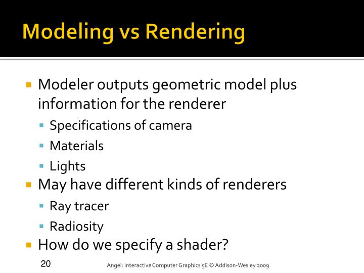 Modeling vs Rendering