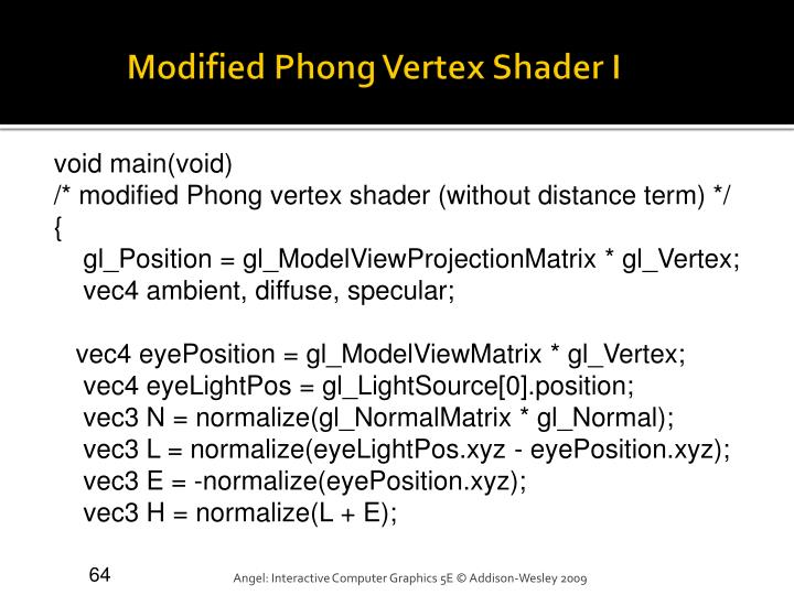 Modified Phong Vertex Shader I