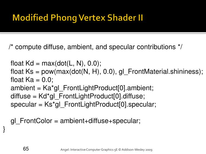 Modified Phong Vertex Shader II