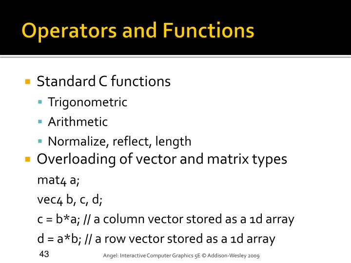 Operators and Functions