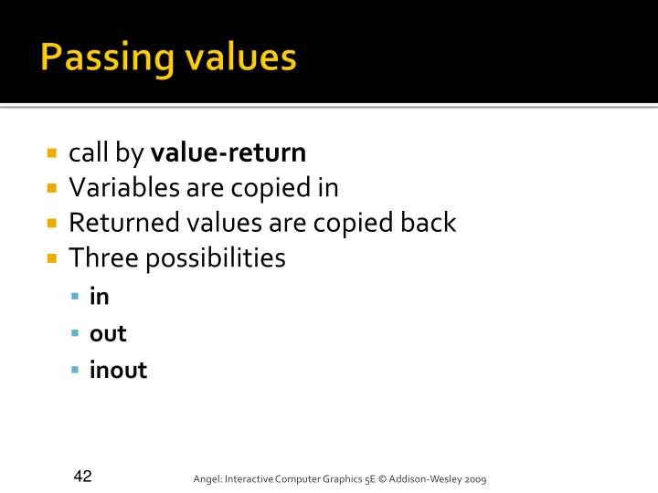 Passing values