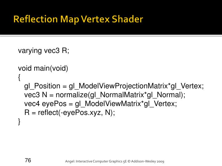 Reflection Map Vertex Shader