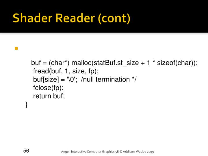 Shader Reader (cont)