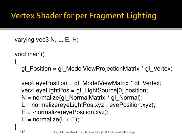 Vertex Shader for per Fragment Lighting